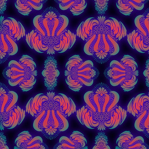 Damask pattern in Day Glow colors on Black