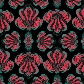 Damask Pattern in Red, Cyan and Black