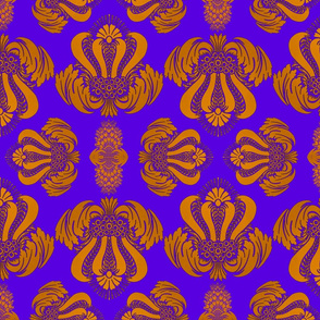 Damask Pattern in Gold, Purple and Blue