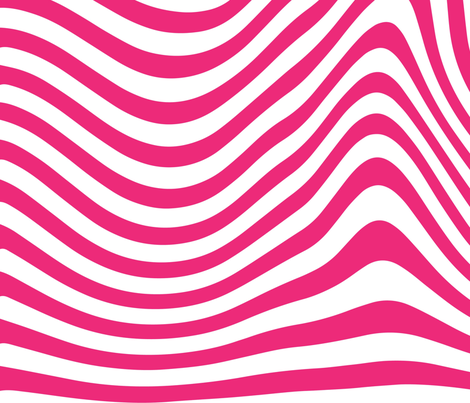 Hot Pink 70s Wavy Lines Retro Psychedelic white large scale _ Miss Chiff designs  fabric by misschiffdesigns on Spoonflower - custom fabric