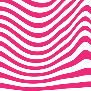 Hot Pink 70s Wavy Lines Retro Psychedelic white large scale _ Miss Chiff designs