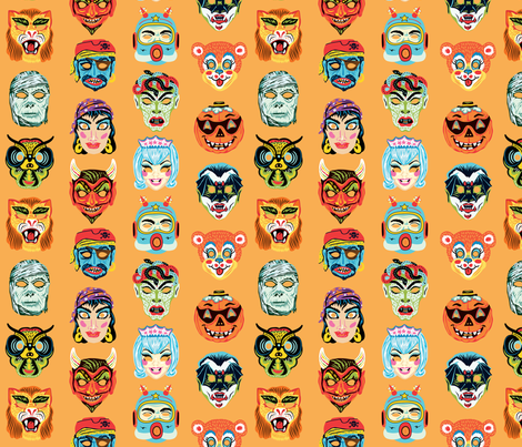 Halloween Masquerade 2 in Orange fabric by pinkowlet on Spoonflower - custom fabric