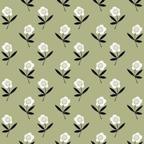 folk flower // linocut floral, flower, stem, bloom, earth tone, neutral girls flower by andrea lauren - olive