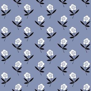 folk flower // linocut floral, flower, stem, bloom, earth tone, neutral girls flower by andrea lauren - periwinkle