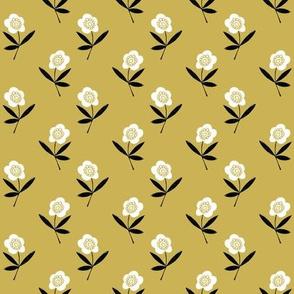 folk flower // linocut floral, flower, stem, bloom, earth tone, neutral girls flower by andrea lauren - mustard