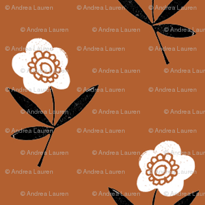 folk flower // linocut floral, flower, stem, bloom, earth tone, neutral girls flower by andrea lauren - rust