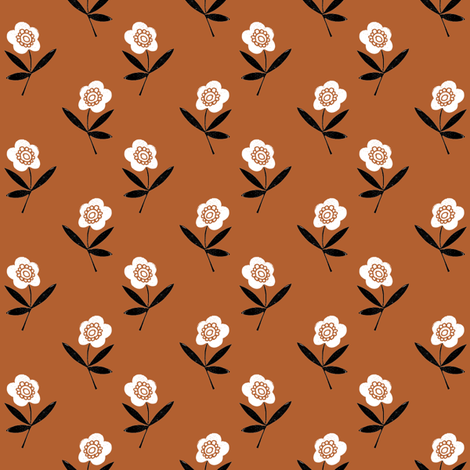 folk flower // linocut floral, flower, stem, bloom, earth tone, neutral girls flower by andrea lauren - rust fabric by andrea_lauren on Spoonflower - custom fabric