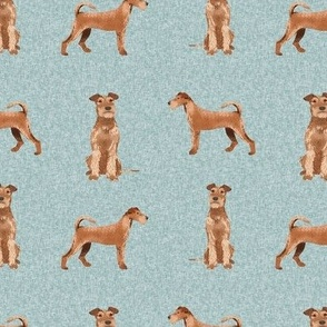 irish terrier dog - dog quilt b - cute dog, dogs, dog breed, dog fabric, linen-look, - blue