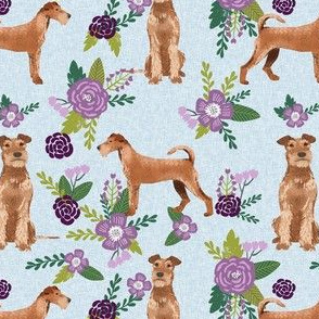 irish terrier quilt dog florals - pet quilt c - cute flowers, dog, dogs, dog breed - purple