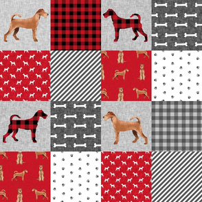 irish terrier dog cheater quilt - pet quilt a- dog quilt, cheater quilt, wholecloth, dog buffalo plaid - red