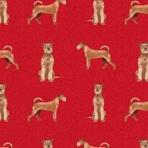 irish terrier dog - dog quilt a - cute dog, dogs, dog breed, dog fabric, linen-look, -red