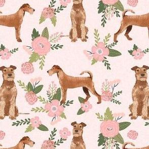 irish terrier quilt dog florals - pet quilt d - cute flowers, dog, dogs, dog breed -blush