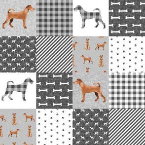 irish terrier dog cheater quilt - pet quilt a- dog quilt, cheater quilt, wholecloth, dog buffalo plaid - grey