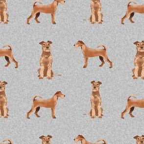 irish terrier dog - dog quilt e - cute dog, dogs, dog breed, dog fabric, linen-look, - grey