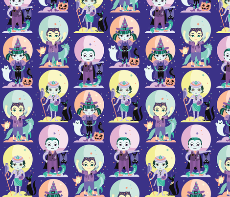 Spooky Friends Medium fabric by pinkowlet on Spoonflower - custom fabric