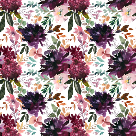 "8"" Whisper Fall Florals // White fabric by hipkiddesigns on Spoonflower - custom fabric"