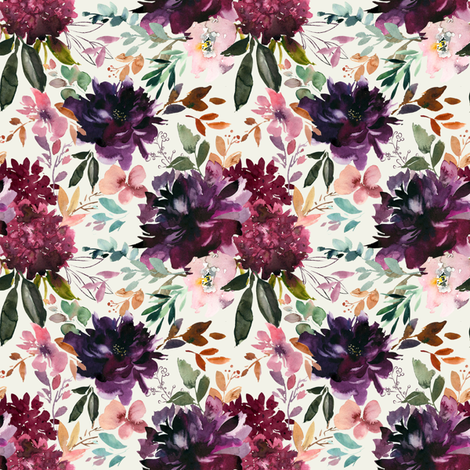 "8"" Whisper Fall Florals // Spring Wood fabric by hipkiddesigns on Spoonflower - custom fabric"