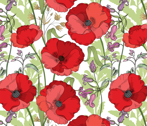 Poppy Goes the Weazle Red Flowers on White fabric by fabric_is_my_name on Spoonflower - custom fabric