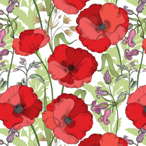 Poppy Goes the Weazle Red Flowers on White