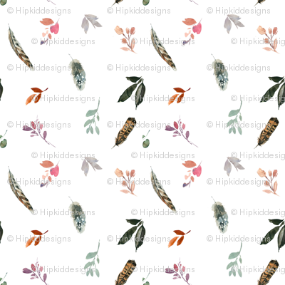 """12"""" Whisper Fall Boho Leaves and Feathers // White"""