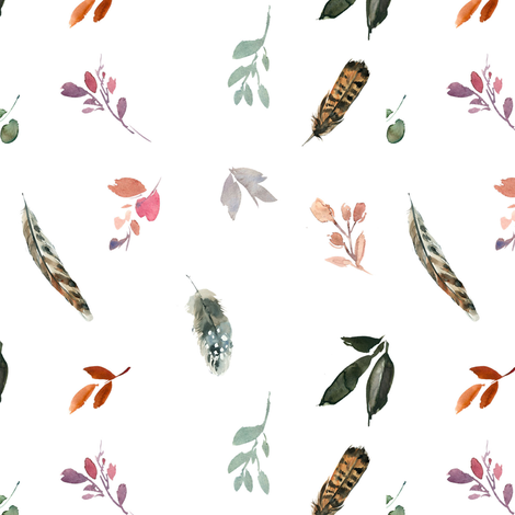"""12"""" Whisper Fall Boho Leaves and Feathers // White  fabric by hipkiddesigns on Spoonflower - custom fabric"""