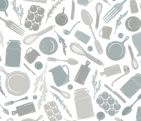 LARGE SCALE Vintage Kitchen Scatter // Milk Jug, Pitcher, Whisk, Cast Iron Skillet, Silverware, Cutting Board, Ladle, Lavender & Rosemary Herb  // Sing for Your Supper // Modern Farmhouse Collection fabric by zirkus_design on Spoonflower - custom fabric