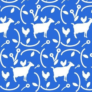 Goats and Hens, White Farm Animals on Blue