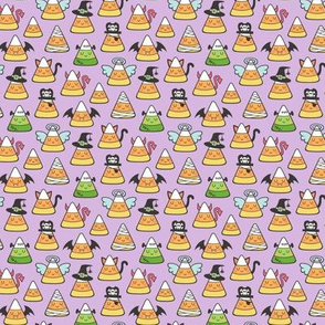 Candy Corn Halloween Fall Doodle on Light Purple Tiny Small