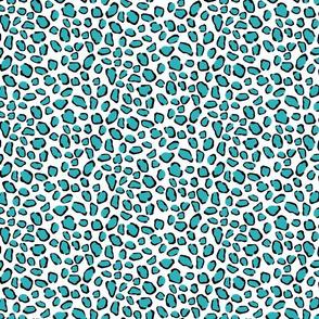 Aqua Leopard Pattern on White