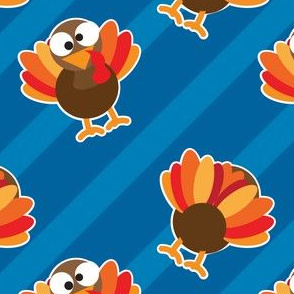 THANKSGIVING Turkey With Stripes Blue Thanksgiving Funny CUTE