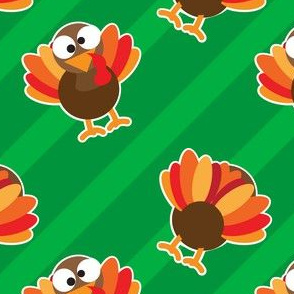 THANKSGIVING Turkey With Stripes Bright Green StripesThanksgiving Funny CUTE
