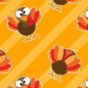 THANKSGIVING Turkey With Stripes Yellow Gold Thanksgiving Funny CUTE