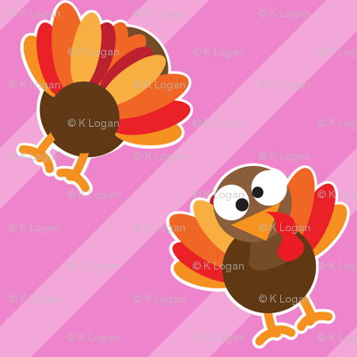 THANKSGIVING Turkey With Stripes Pink Thanksgiving Funny CUTE
