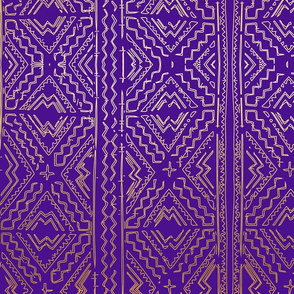 mud cloth gold on purple