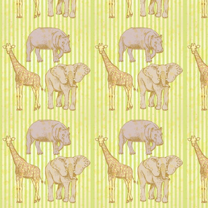 Zoo Animals Illustrated on Green Stripe