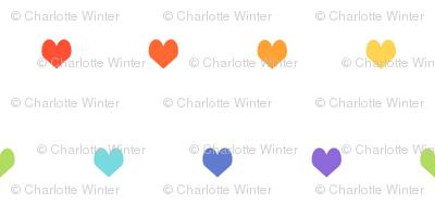 rainbow hearts - heart, hearts, girls, girl, baby, nursery, valentines - cute original