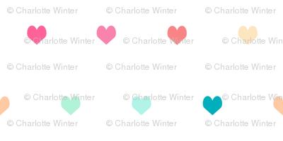 rainbow hearts - heart, hearts, girls, girl, baby, nursery, valentines - cute