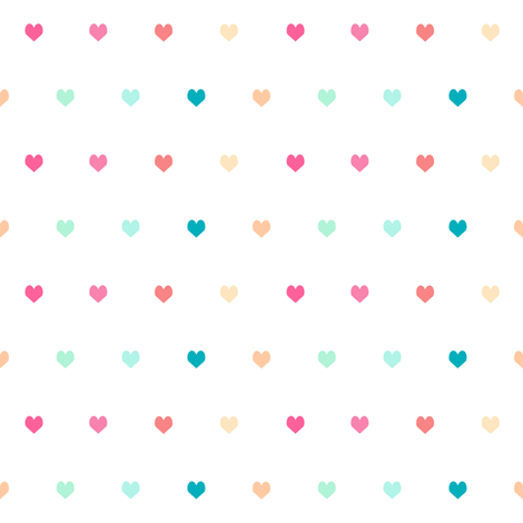 rainbow hearts - heart, hearts, girls, girl, baby, nursery, valentines - cute fabric by charlottewinter on Spoonflower - custom fabric