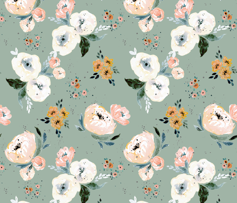 Janice Floral harvest blue fabric by crystal_walen on Spoonflower - custom fabric