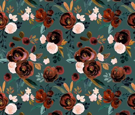 Valentina Rust Rose - Teal fabric by crystal_walen on Spoonflower - custom fabric