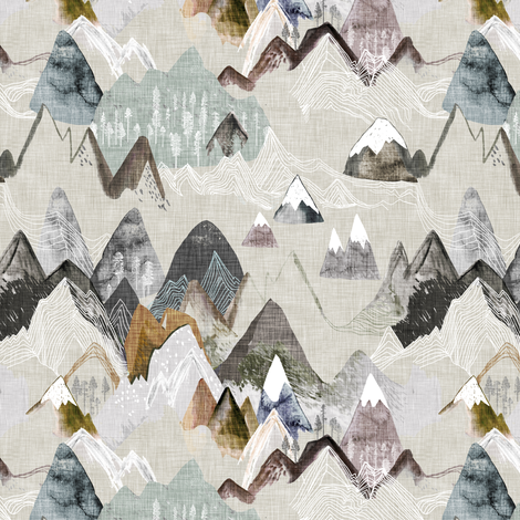 Call of the Mountains (ochre) SML fabric by nouveau_bohemian on Spoonflower - custom fabric