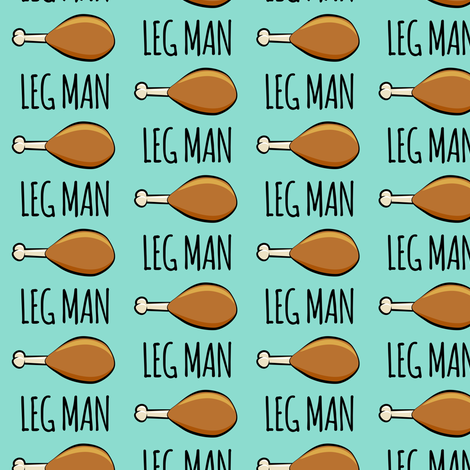 (med scale) turkey legs - Leg man- dark aqua fabric by littlearrowdesign on Spoonflower - custom fabric