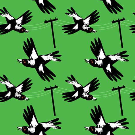 Crazy Magpies Green (small) by Mount Vic and Me fabric by mountvicandme on Spoonflower - custom fabric