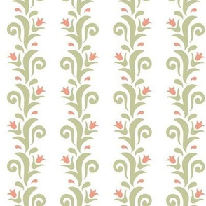 floral stripes sage and peach