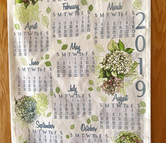 2019 Hydrangea Calendar Tea Towel