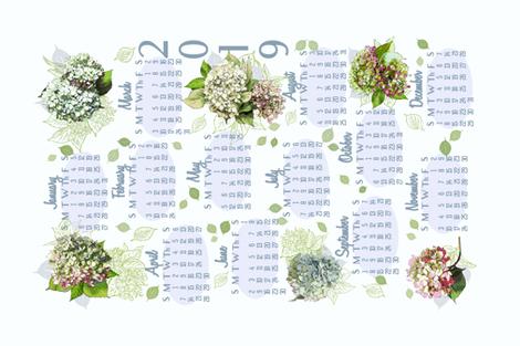 2019 Hydrangea Calendar Tea Towel fabric by cindi_g on Spoonflower - custom fabric