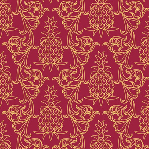 victorian acanthus leaf border and pineapple gold on wine