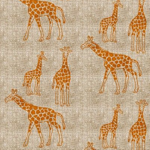 Giraffes with Antiqued Linen Texture