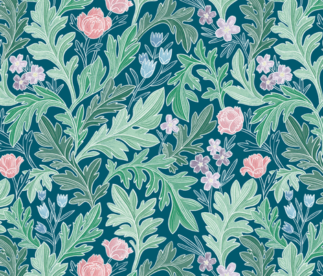 Victorian vintage floral pattern fabric by stolenpencil on Spoonflower - custom fabric