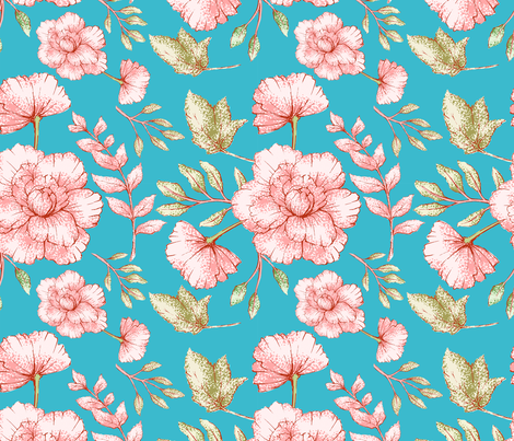 Abstract Pink Flowers and Green Leafes - Small fabric by utart on Spoonflower - custom fabric
